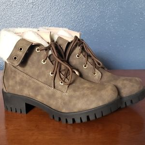 Madigan Faux Shearling Combat Boot
